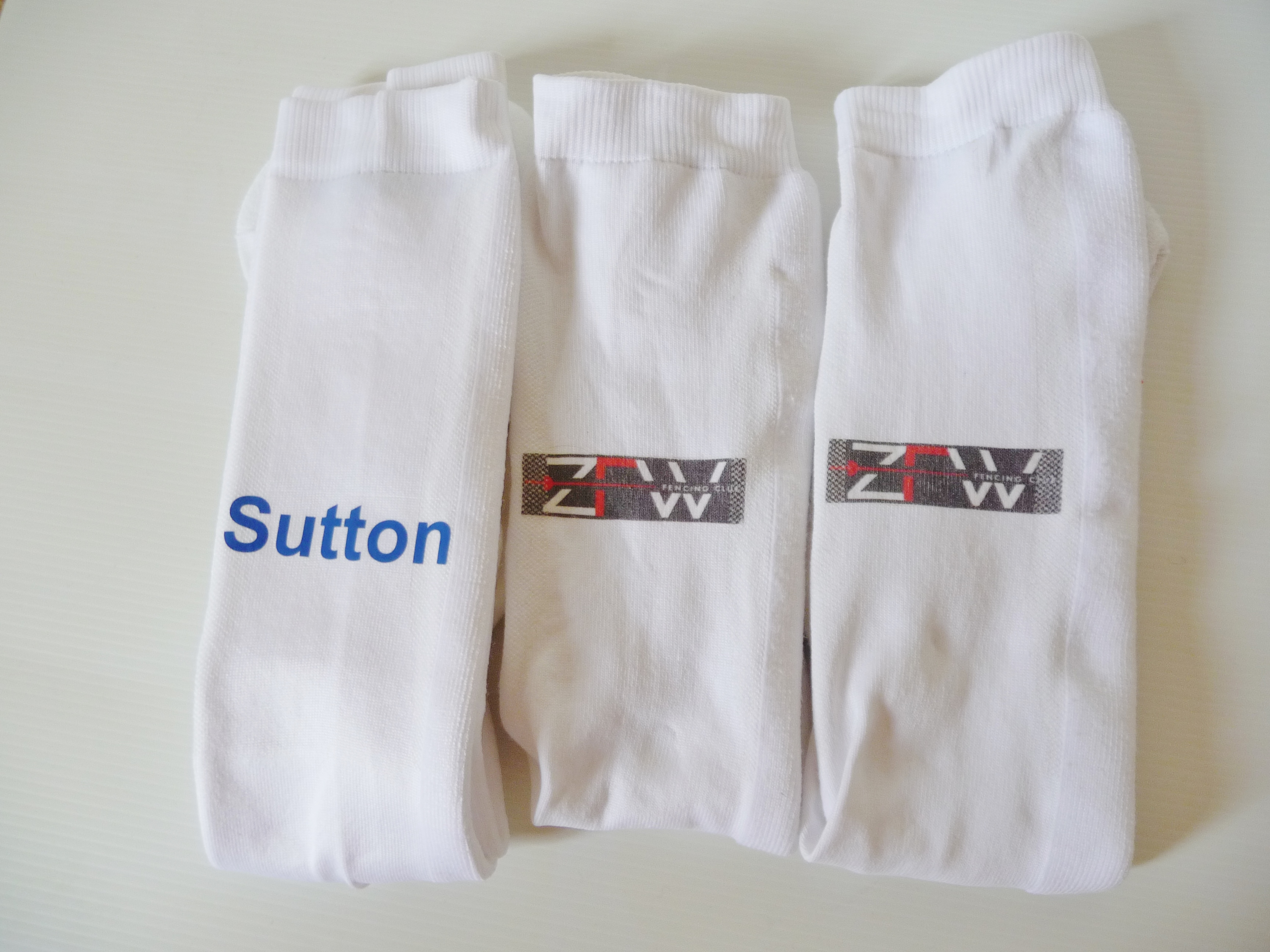 Fencing socks personalised ie name, flag, club logo
